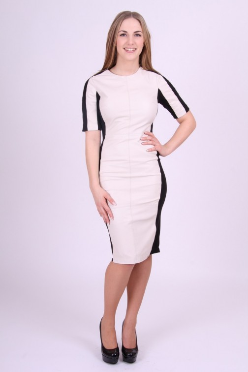Leather dress in Black&Creme Ibana Rouge