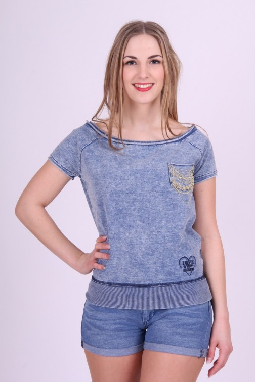 Sweat truitje in Jeansstof Fracomina