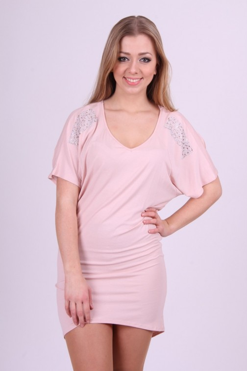 Miss Money Money dress in Soft Pink with studs
