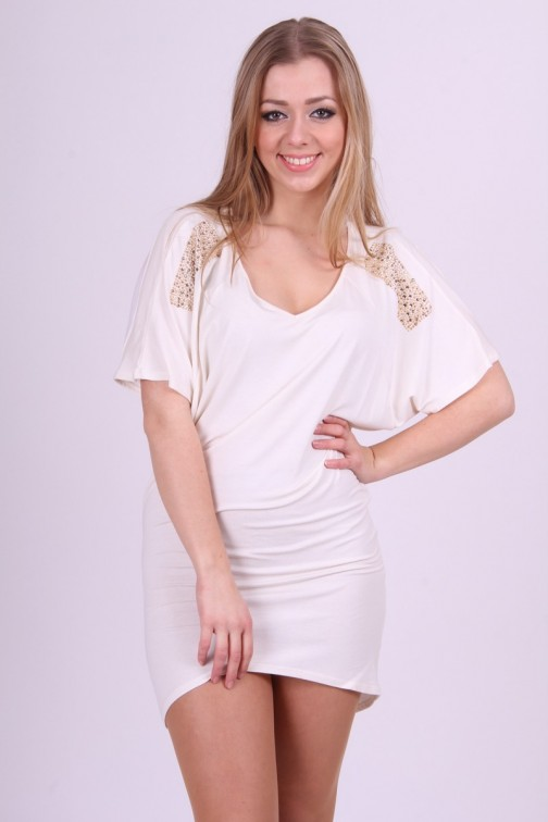 Miss Money Money dress in Cream with studs