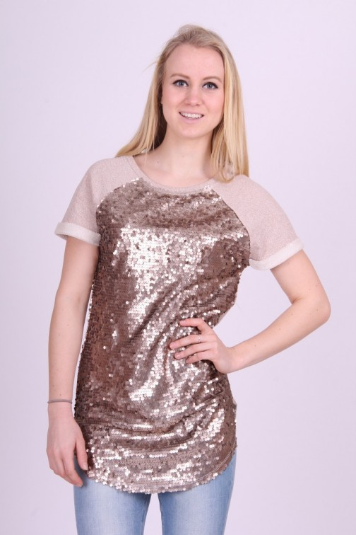 Bronzen Sweater dress met pailletten Gaudi
