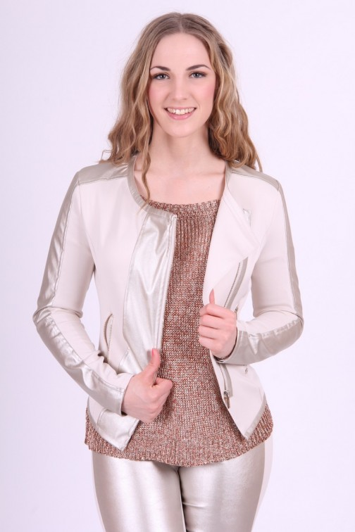 Gaudi jacket in Cream & Silver leather