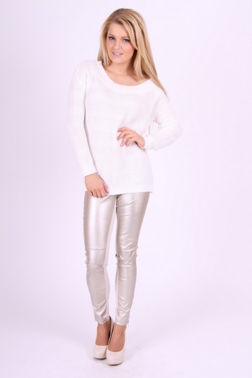 Gaudi Legging in Cream & Silver