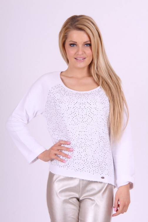 Gaudi Sweater in white with Crystals