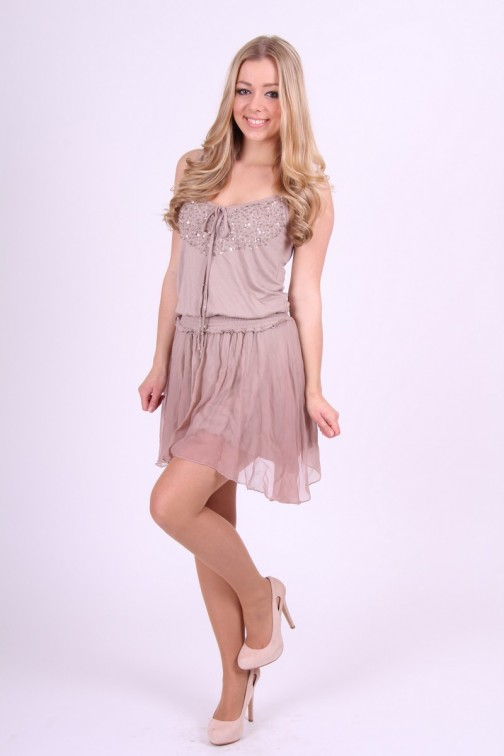 Gaudi Dress in taupe met kristallen