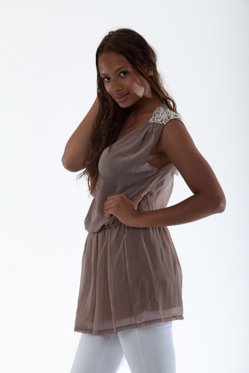 Jacky Luxury Pearl top in taupe