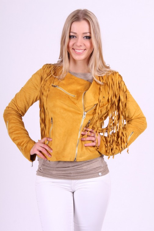Suedine franje Jacket in Dark Yellow