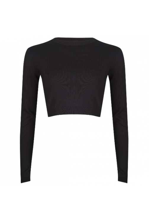 Jacky Luxury cropped top in zwart.
