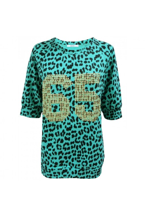 Sweater Turquoise Leopard print