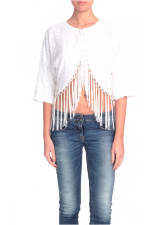 Relish white jacket fringe