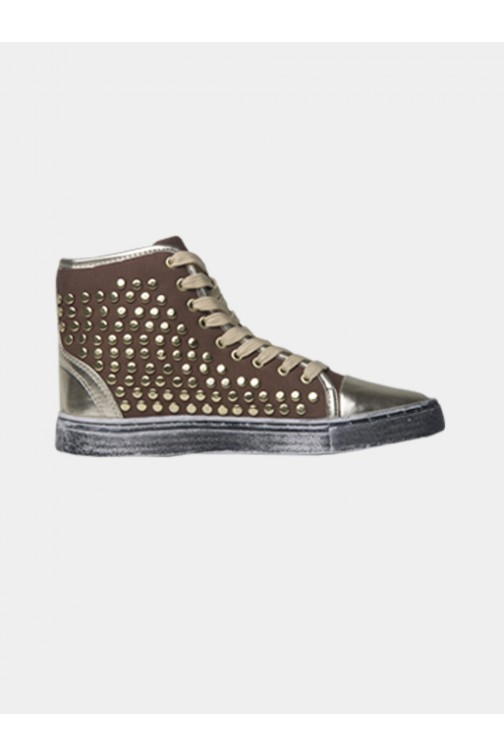 Sneakers met studs van Jacky Luxury in taupe.
