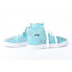Snakeprint sneakers van Jacky Luxury in Turquoise.
