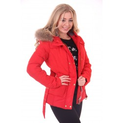 Nickelson Jaclin Jacket in red with fur